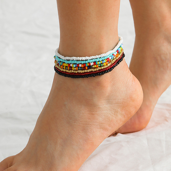 SHIXIN Bohemia Colorful Beads Anklet Bracelet on the Leg for Women Rainbow Small Beaded Summer Ankle Bracelet Foot Chain Jewelry 3pcs set fashion bracelet on the leg women simple copper chain anklet ankle bracelet foot jewelry woman s accesories