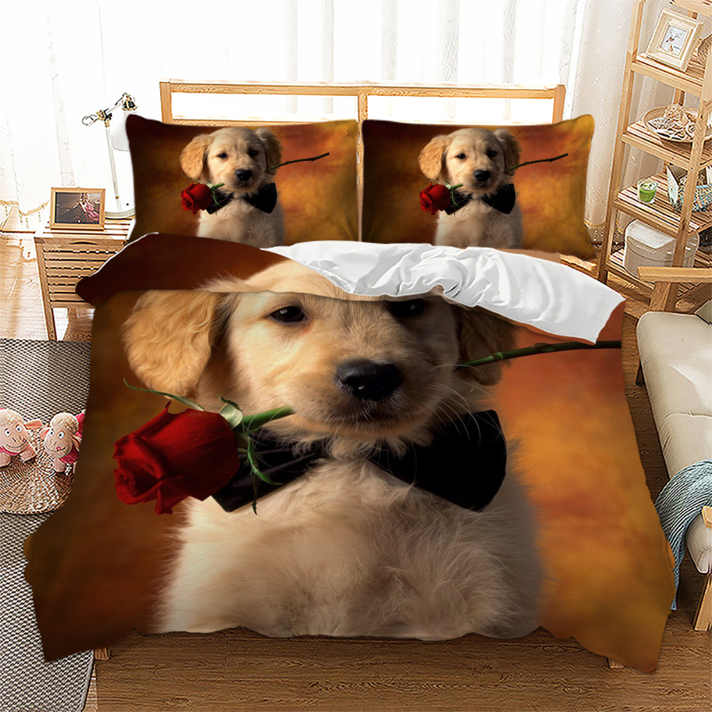 3D Bedding Set Cat Dog Print Comforter Quilt Cover Lifelike Bedclothes with Pillowcase Bed Set Home Decor Kids Gift  My Pet World Store
