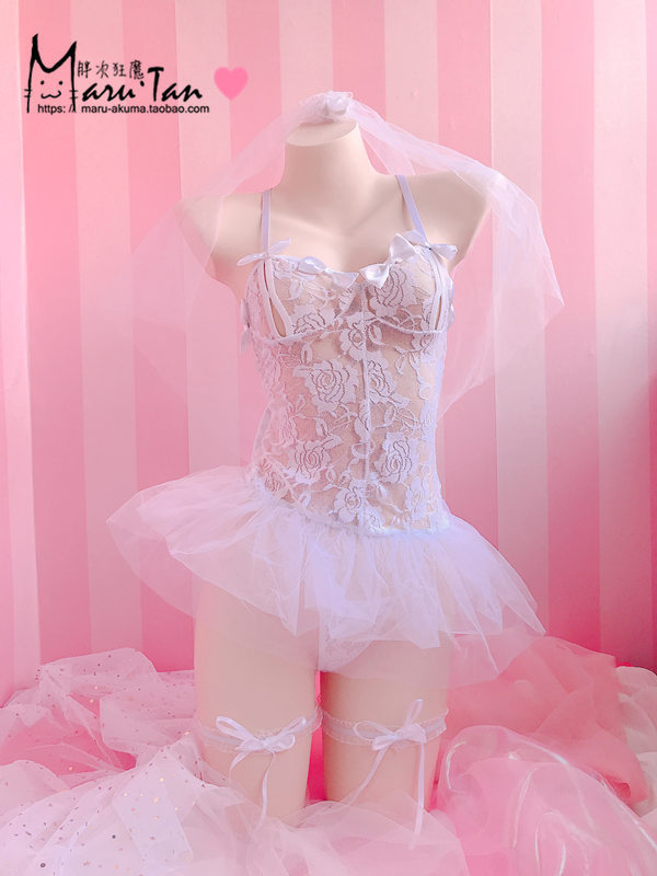 <font><b>Sexy</b></font> Bridal <font><b>Lingerie</b></font> <font><b>Dressed</b></font> In <font><b>White</b></font> Lace Embroidered Sleeping <font><b>Women</b></font> <font><b>Babydoll</b></font> Trajes Costume Cosplay <font><b>Babydoll</b></font> Erotic Pajamas image