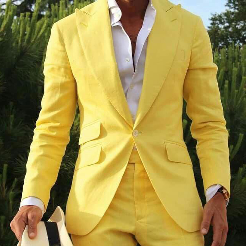 Yellow Slim Fit Casual Men Suits For Wedding Prom 2020 Tailor Made 2 Piece Male Set Blazer Pants Latest Style