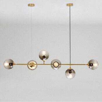Современный светодиодный светильник-люстра для столовой, стеклянный шар, подвесные светильники, скандинавские светильники для гостиной, п...