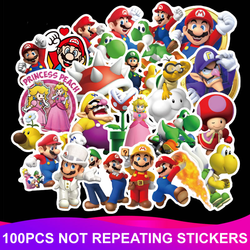 100pcs/Pack PVC Waterproof Cartoon Super Mario Stickers Laptop Suitcase Motorcycle Car Styling DIY Funny Sticker Kid Classic Toy