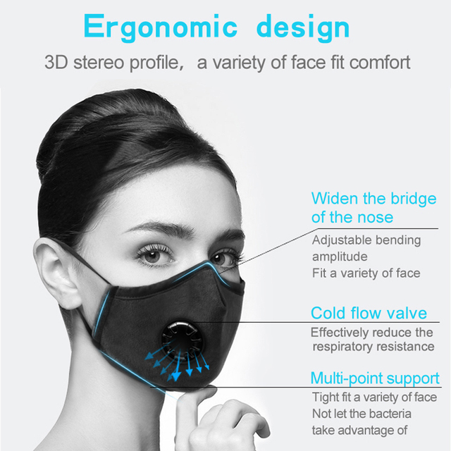 Valve Anti-dust PM2.5 Filter Motorcycle Mask Washable Mouth Mask Protection Respirator Face Mouth Cover 4