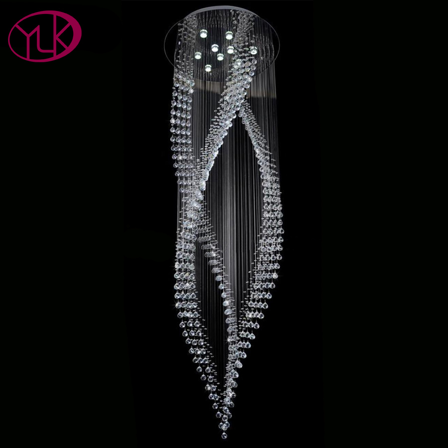 Современная хрустальная люстра светильник ing спиральный дизайн Overlength комнатная Подвесная лампа гостиная лобби лестница роскошный светиль...