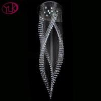 Modern Crystal Chandelier Lighting Spiral Design Overlength Indoor Hanging Lamp living room lobby staircase Luxury light fixture