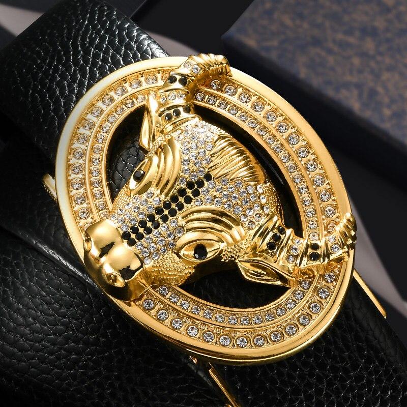 Cintura da uomo in vera pelle di vacchetta di alta qualità cintura atmosfera testa di bue fibbia in metallo stile cinese nuovo modello qualbelt superiore