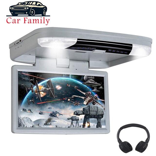 DVD плеер 15,6 дюймов FHD 1080P Автомобильный Монитор крыша с HDMI портом/USB/SD встроенный ИК/FM передатчик откидной потолочный ТВ для автомобиля