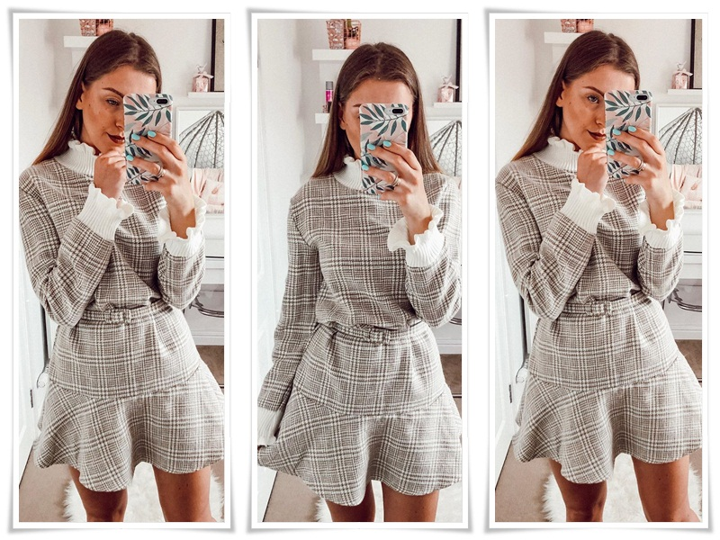 Simplee Elegant plaid dress women Turtle neck knitted short dress female Ruffle sashes vintage autumn office ladies vestidos 4