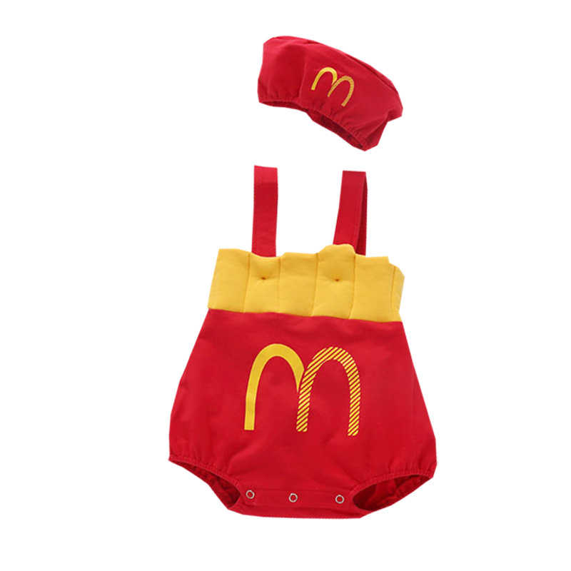 Newborn Infant Baby Girls Boys French Fries Set Cotton Off Shoulder Straps Romper Jumpsuit Cute Casual Outfits Clothes Cap Suit