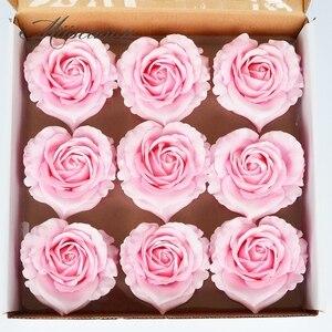 Image 5 - 9pcs Diameter 10cm Cheap Soap Heart shape Rose Heads Wedding Valentines Day Gift Wedding Bouquet Home Decor Hand Flower Art