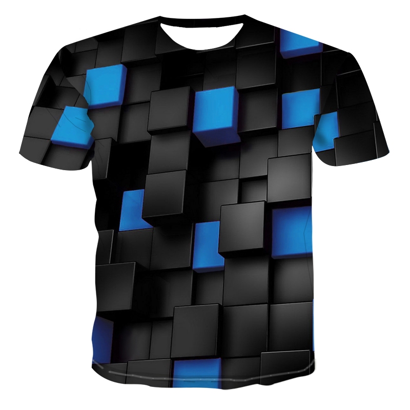 Black blue Squares Stranger things 3d Printed Funny t shirts Casual Summer T Shirt Men/Women Tops Tees Brand oversized Clothes