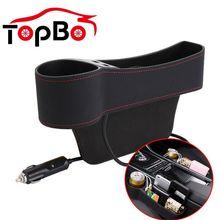 Auto Car Seat Gap Organizer PU Leather Storage Box Cup Holder Car Seat Side Slit Pocket Storage Bag With Dual USB Charger Ports