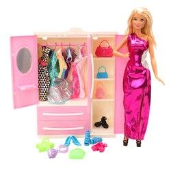 Mais novo 36 itens/lote acessórios casa de bonecas rosa boneca guarda-roupa armário vestido sapatos quarto móveis para barbie jogo