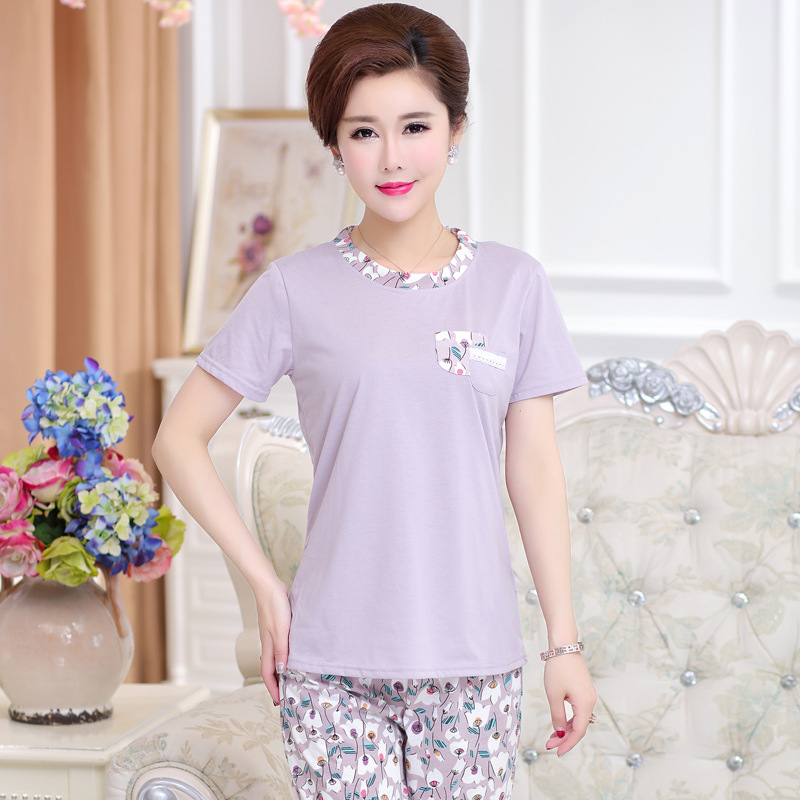 Peach Scent Middle-aged Mom WOMEN'S Pajamas Summer Pure Cotton Short Sleeve Middle Aged And Elderly People Thin Cotton Homewear