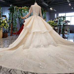 Image 2 - HTL958 luxury ball gown wedding dresses cathedral v neck appliques wedding gowns button back champagne vestidos novias boda 2020