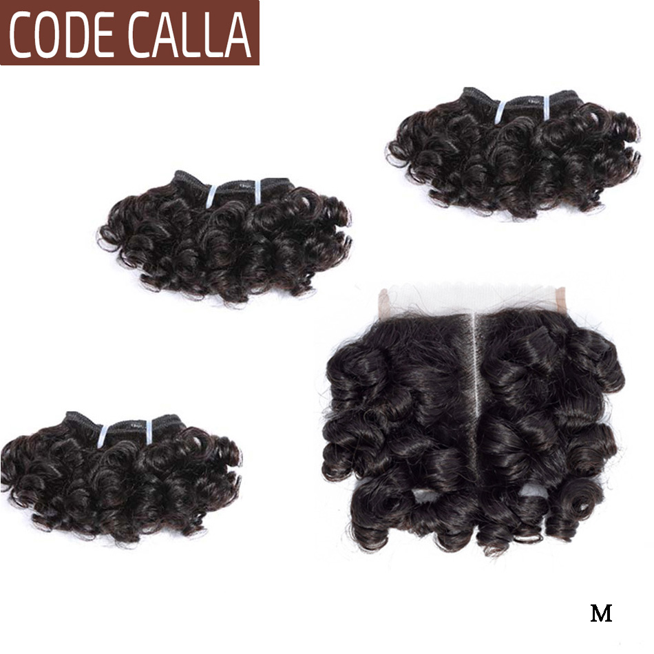Code Calla Bouncy Curly Hair Bundles With 4*4 Lace Closure Indian Remy Human Hair Extensions Natural Black And Dark Brown Color