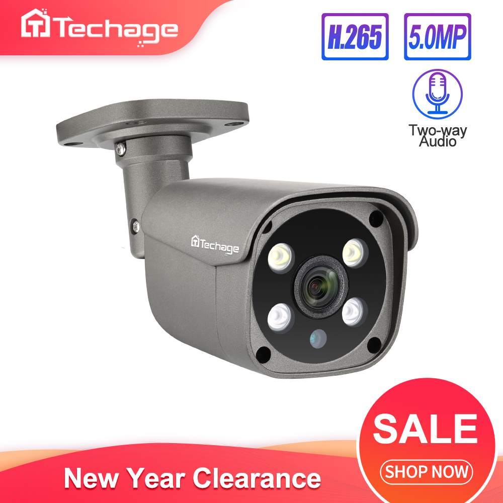 Techage H.265 5MP Security POE IP Camera Human Detection Outdoor Two Way Audio Video Surveillance AI Camera ONVIF For NVR System