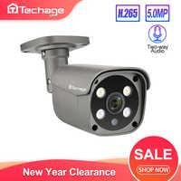 Techage-caméra IP POE de sécurité, H.265 5MP, détection humaine, Surveillance vidéo Audio à deux voies pour système NVR