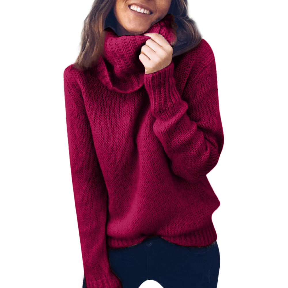 Jaycosin Women Long Sleeve Loose Turtleneck Knitted Sweater Elegant Chic Attractive Comfortable Lightweight Jumper Pullover
