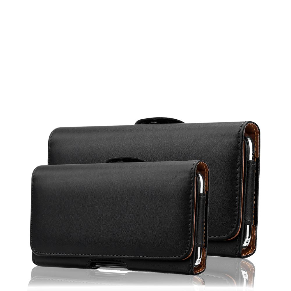 Universal Leather Phone Case Pouch For <font><b>iPhone</b></font> 11 for Samsung for Huawei for Redmi Note 7 PRO <font><b>Belt</b></font> Clip Holster Cover Black Bag image