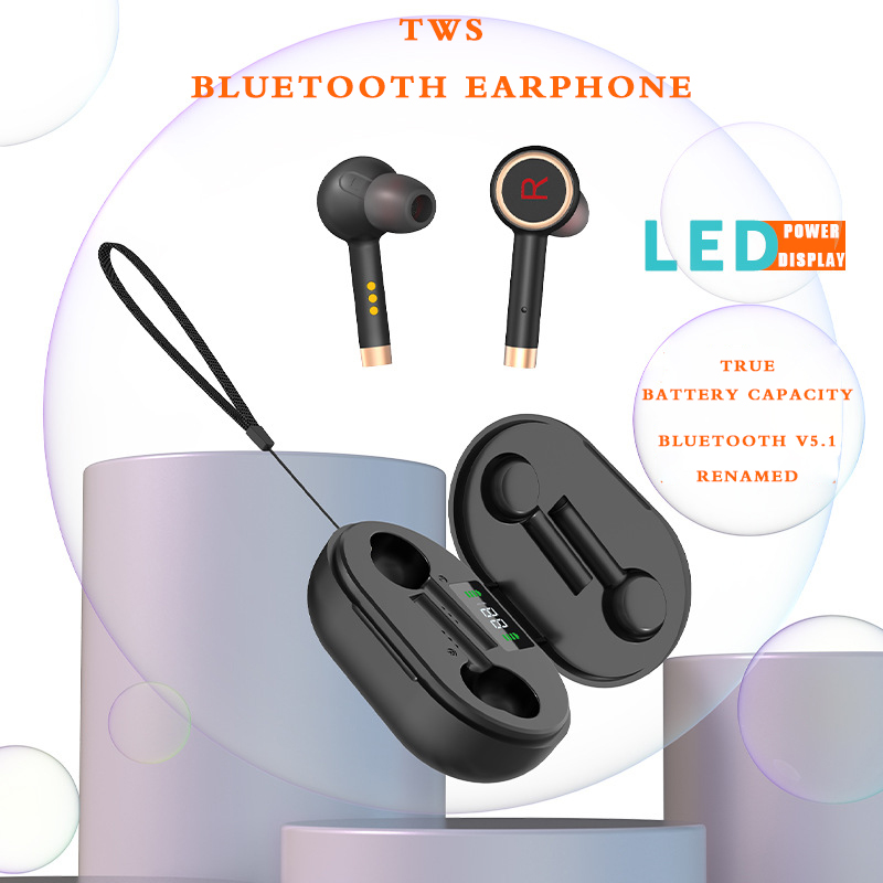 sport stereo Bass Wireless Headphones Bluetooth Earphones <font><b>TWS</b></font> <font><b>Earbuds</b></font> for with mic LED power display charging casee for Phones image