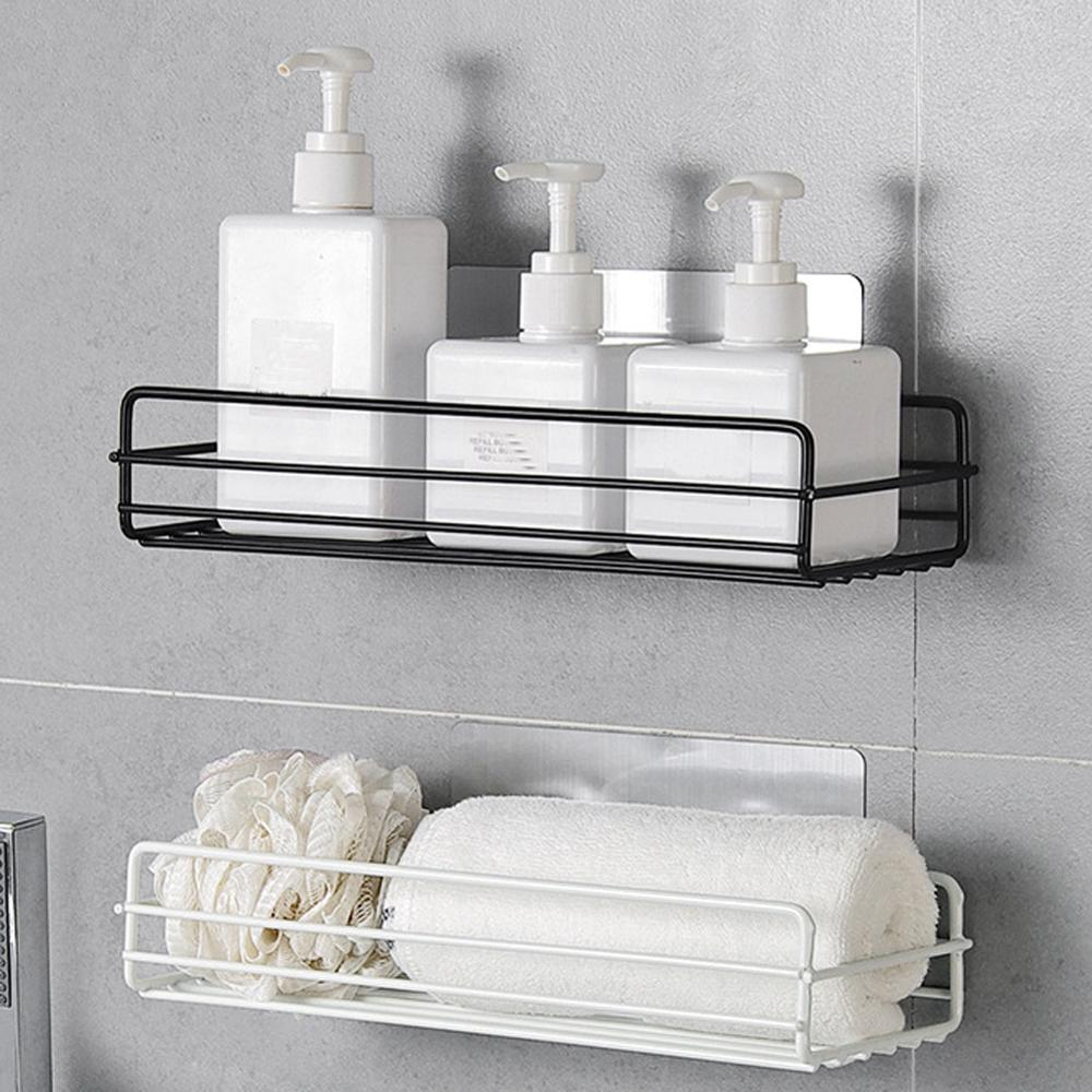 Iron Kitchen Bathroom Toilet Shelf Wall Mount Shower Adhesive No Drilling Storage Organizer Shampoo Holder Rack