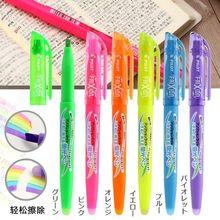 JIANWU set de 6 bolígrafos fluorescentes borrables, set de 6 unidades de bolígrafos fluorescentes FRIXION, subrayador creativo, bolígrafos para diario, suministros de arte kawaii