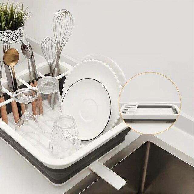 Foldable Dish Rack Kitchen Drainer Tool Bowl Tableware Plate Storage Organizer Holder Portable Fold Drying Home TPR Rack Shelf 2