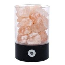USB Real Himalayas Salt Crystal Rock Lamp Good for Health Small Mineral Negative Ionic Stone Lava Salt Night Light for Bedroom O
