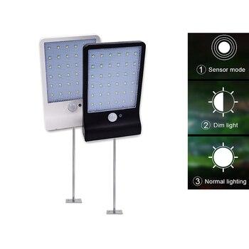 โลหะเสา 48 LEDs พลังงานแสงอาทิตย์สวนไฟรักษาความปลอดภัยพลังงานแสงอาทิตย์ SENSOR Motion Sensor Light รีโมทคอนโทร...