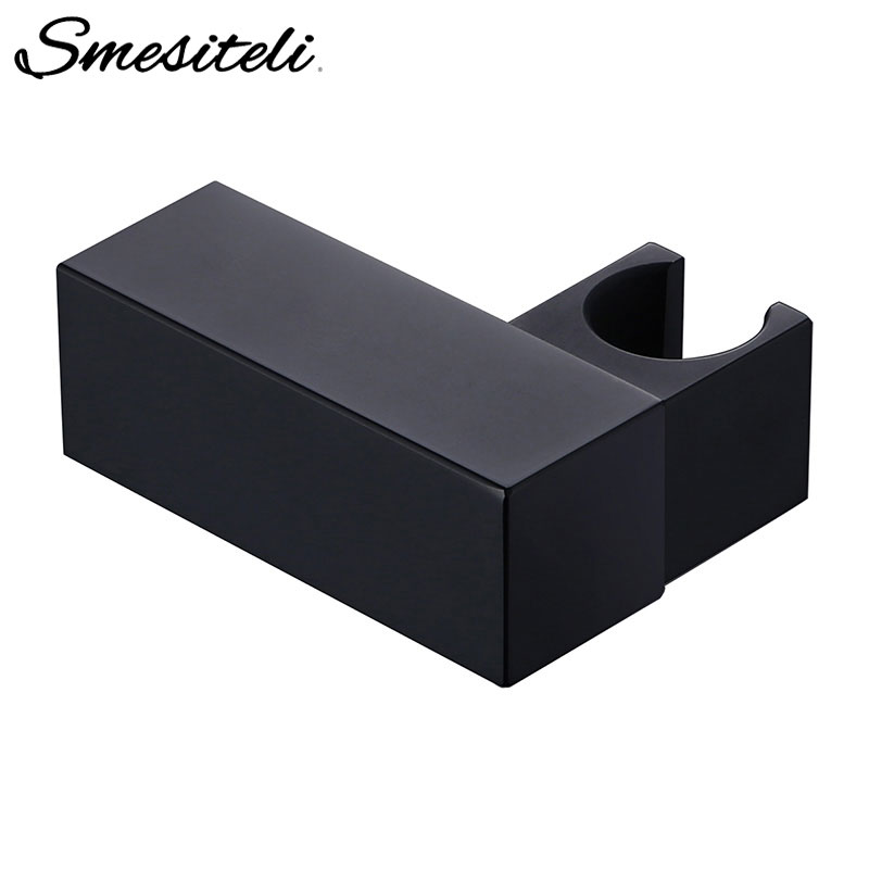 Smesiteli Handheld Shower Head Fixing Bracket Black Squre Small Brass Wall-Mounted Shower Fixed Bracket Bathroom Accessories
