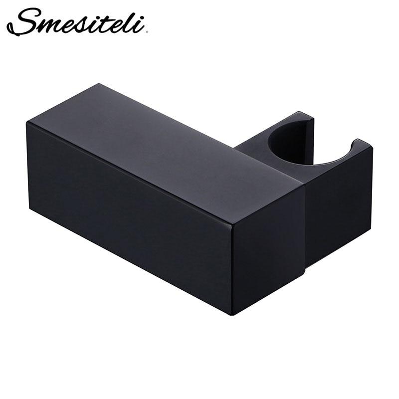 Smesiteli Handheld Shower Head Fixing Bracket Black Squre Small Brass Wall-Mounted Shower Fixed Bracket Bathroom Accessories