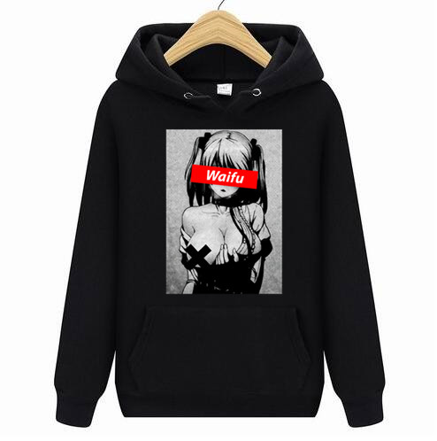 WAMNI Hoodies Sweatshirts Waifu Material Hoodies Otaku Lewd Hentai Cute Girl Anime Ahegao T Hoodies For Men StreetWear