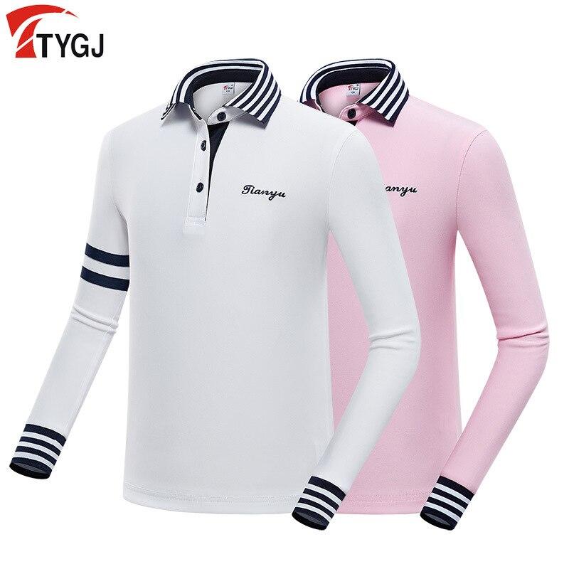Pgm enfants filles Golf T-Shirt à manches longues rayé chemise enfant filles tourner vers le bas col Golf vêtements de sport nouveauté D0815