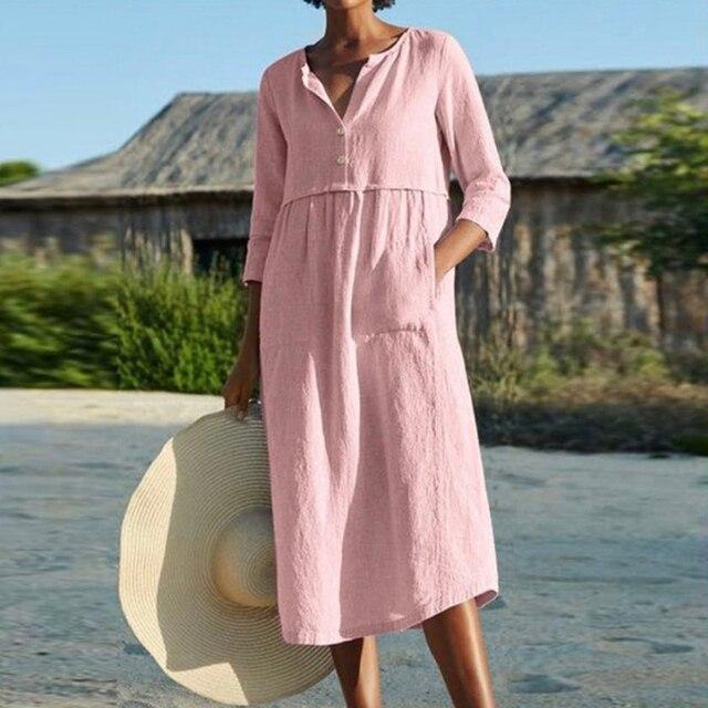 Linen Summer Dress Women Three Quarter Casual Pocket Woman Dress Solid A-Line Ruffles Dresses for Women 2021 robe femme 3