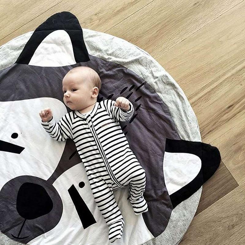 Kawaii Animal Print Koala Panda Rabbit Fox Round Cotton Carpet Soft Sleeping Baby Play Mats Activity Room Decoration