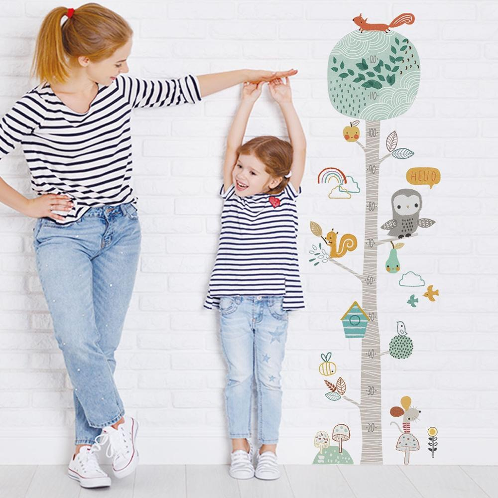 YOUKER Color Forest Animal Tree Height Stickers Wall Stickers Children's Room Kindergarten Creative Decorative Wall Stickers