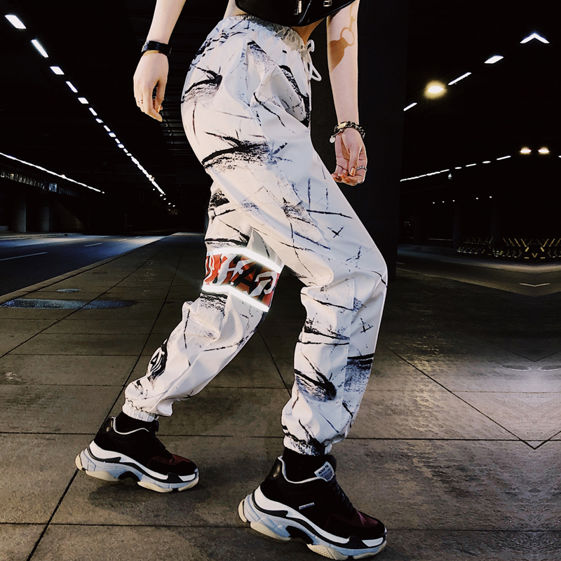 Streetwear Casual Print Baggy Pants Women Hip Hop Elastic Waisted Trousers Fashion Pockets Workout Womens Joggers Sweatpants