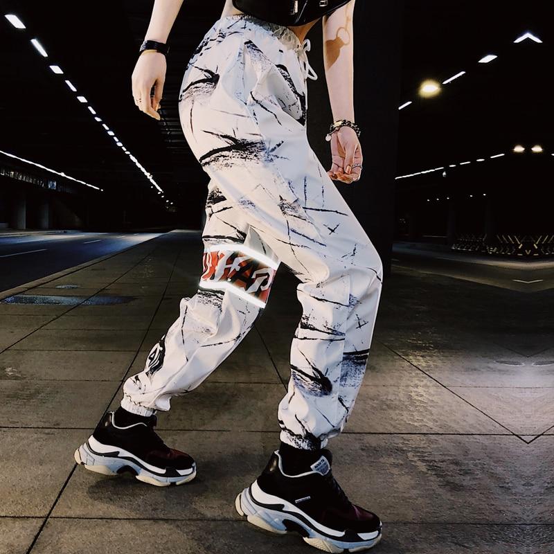 Streetwear Casual Print Baggy Pants Women Hip Hop Elastic Waisted Trousers Fashion Pockets Workout Womens Joggers Sweatpants