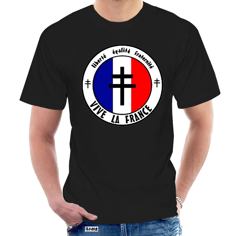 France Libre - dom Equality Fraternity - Dispo Du S Au 3Xl Ffi Homme New Man Short Sleeve Cotton Tees Tops Shirt Design 5205Y