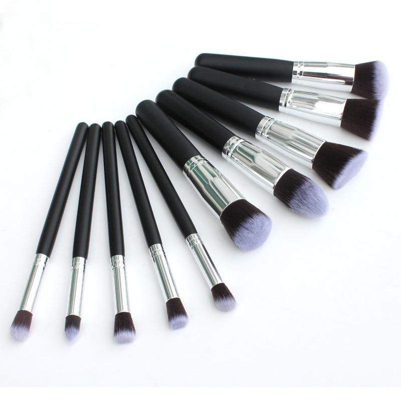 10Pcs Makeup Brushes Fashion Portable Multifunctional Soft Makeup Brush Set 3.5CM Wood Makeup Tool Total Length 13CM