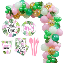 Pink Wild ONE Birthday Jungle Party Disposable Tableware Forest Animal Party Balloons Baby Shower Girl 1st Birthday Party Decor