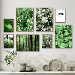 Nature Forest Flower Green Leaves Quotes Wall Art Canvas Painting Nordic Posters And Prints Wall Picture For Living Room Decor