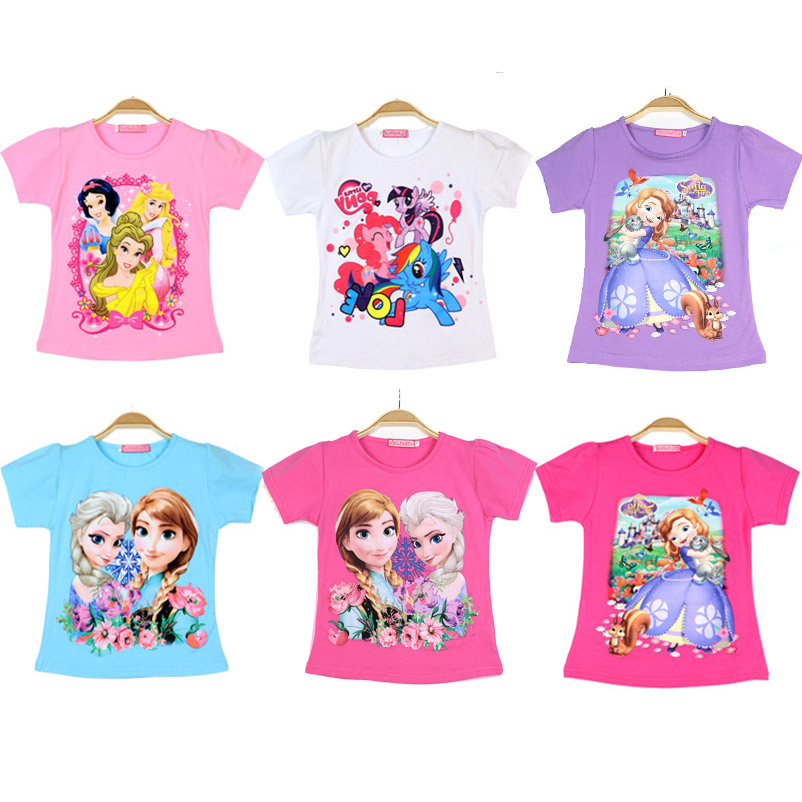 Summer T-shirts For Girls Children Tshirts Soft Cotton Princess Tees Snow Queen Elsa T Shirt Applique Kids Birthday Tops Clothes