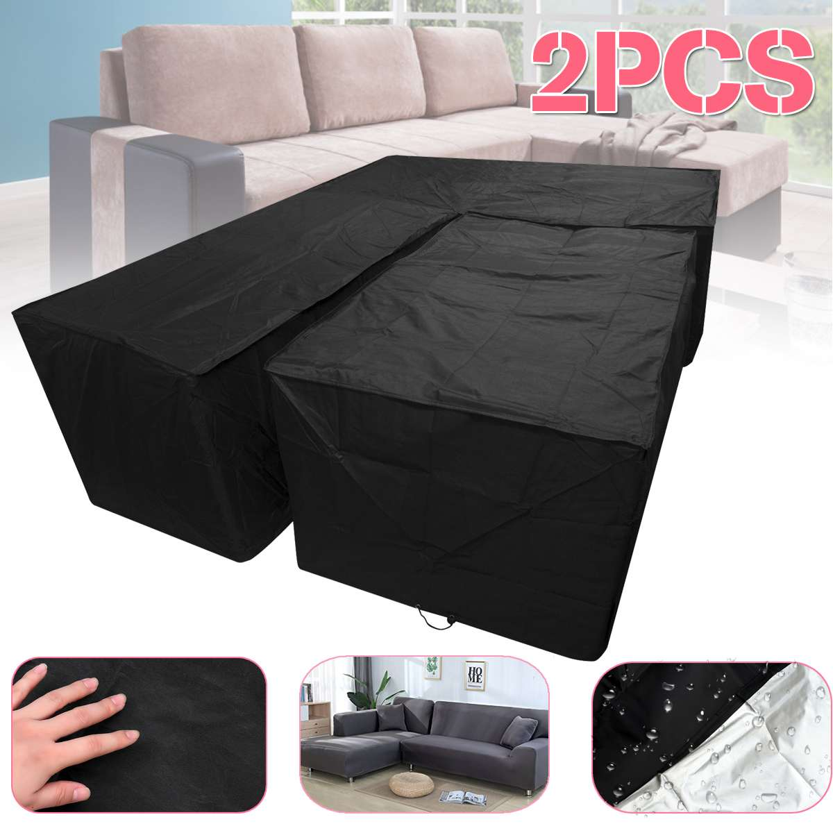 Patio Sectional Sofa Cover V-Shaped Furniture Protector Premium Outdoor Waterproof /& Dustproof Furniture Outdoor Outside Cover Size : 215x215x87cm Garden Couch Cover
