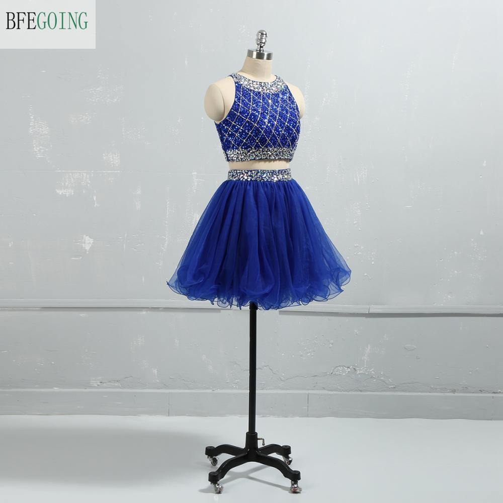 Royal Blue Tulle Beading Mini  A-line Formal Cocktail Dress