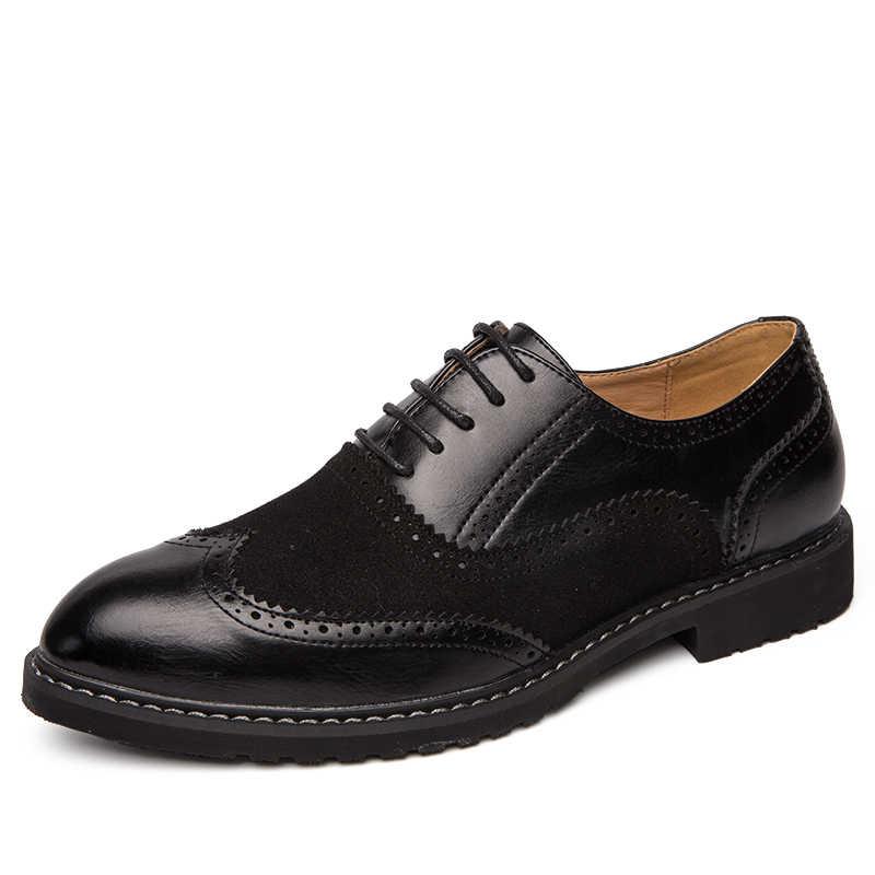 Nieuwe Collectie Retro Brogue Lederen Schoenen Klassieke Zakelijke Formele Schoenen Bruiloft Wees Schoenen Mannen Oxford Schoenmaat 46