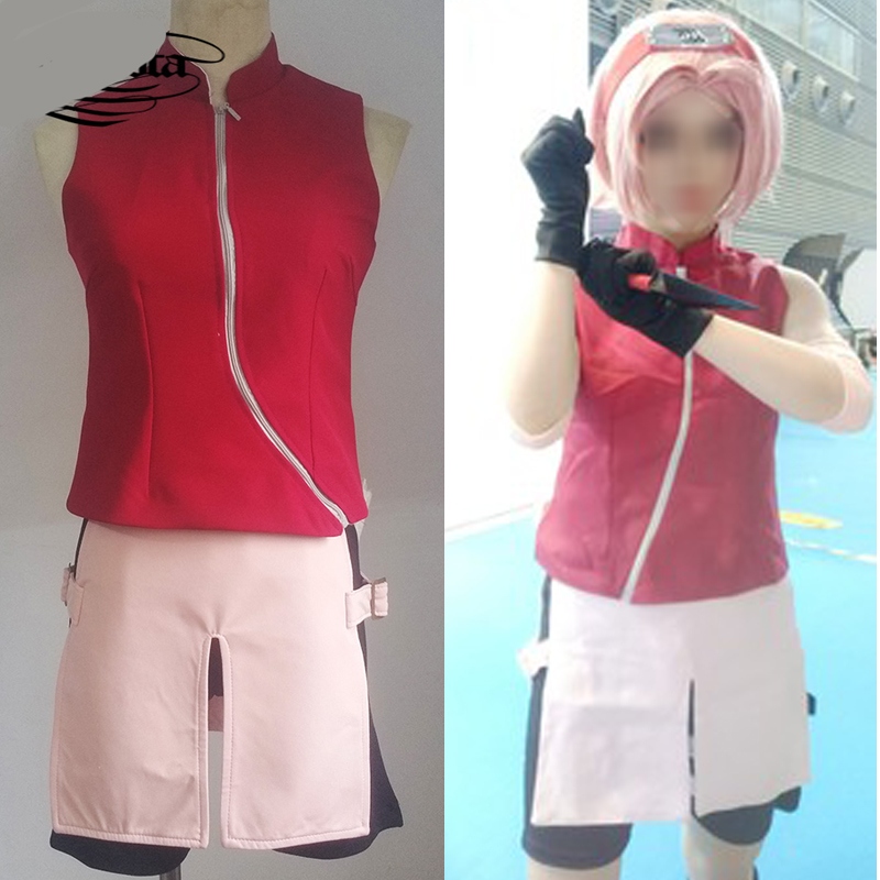 Naruto Cosplay Costume Vest Set Props Headband Custom Made Haruno Sakura Wigs Short Pink Hair Naruto Cosplay Halloween for Women
