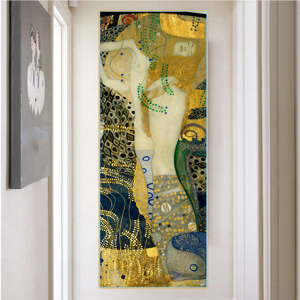 Citon Gustav Klimt Water Serpents I Canvas Art Oil Painting Famous Artwork Poster Picture Wall Decor Home Interior Decoration Painting Calligraphy Aliexpress