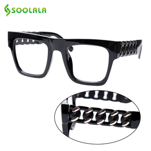 Image 1 - SOOLALA Square Oversized Reading Glasses Women Men Special Arms Clear Lens Presbyopia Computer Reading Glasses 0.5 to 5.0